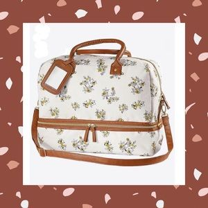 (K) Cognac Floral Weekender Travel Bag Large